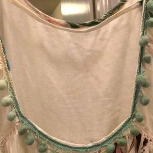 ZL Dresses - Tie strap printed dress with Pom Pom detail.